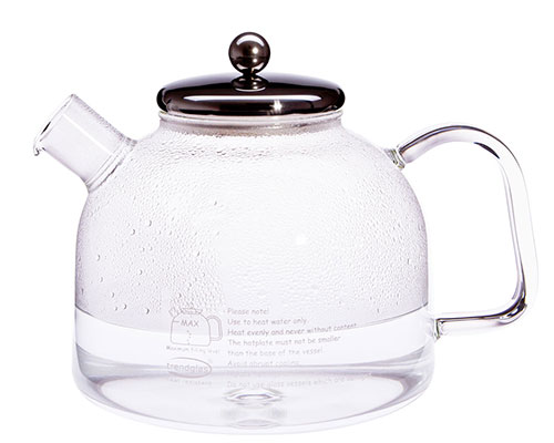 German Glass Stove-Top Kettle with Stainless Steel Lid 7 cup
